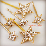 Crystal rhinestone Star celestial Hair Pins hair clips for bridesmaid bride wedding , boho bridal hair pins, gold and silver Crystal star hair accessories