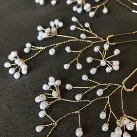 gold babys breath pearl hair pins bridal hair accessory, Wedding bridal pearls hairpiece