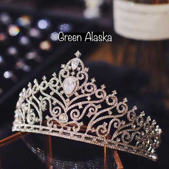 luxury rhinestone wedding tiara, bridal wedding tiara crown, bridal headpiece, bridal tiara, princess crown