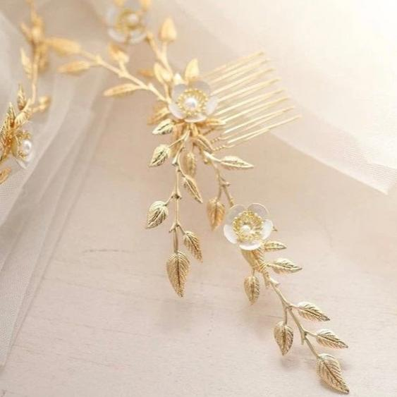 gold bridal back hairpiece, vintage roman headpiece hair comb, boho florets back comb, bride bridesmaid wedding hair comb