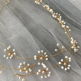 babys breath extra long pearl Hair Vine, Wedding bridal pearl Hair Vine, pearls hairpiece, 1 meter long hair vine