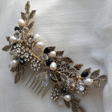 Vintage bronze hair comb, fresh water pearl,dark gold leaves, boho Bridal Headpiece,  Bridal Headpiece for Wedding