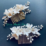white clay floras hair comb hair pins for wedding brides bridesmaids, white flower hairpiece hair accessories