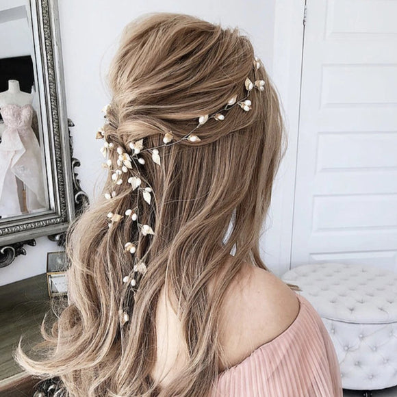Boho Gold Leaf Bridal Hair Vine, Leaf Bridesmaid Hairpins, Hair pins, Wedding Pearl Decoration, Wedding bridal Headpiece