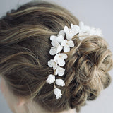 clay flower bridal headpiece, Gold ivory white flower headpiece hair vine, Gold bridal comb, gold hair piece, Wedding headpiece, Bridal hair comb, bridal comb, wedding comb