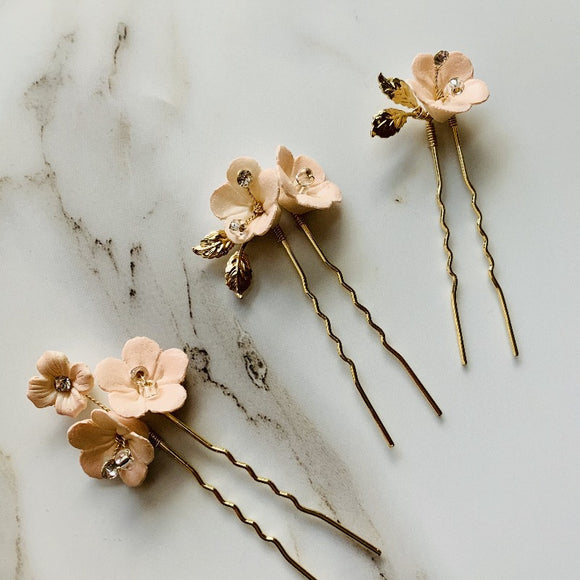 blush pink floret hairpins set, for your bridesmaid/flower girl