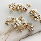 chrysanthemum hairpins set boho clay floras bridal hairpiece for weddings, daisy flower hairpiece , white floras hair vine