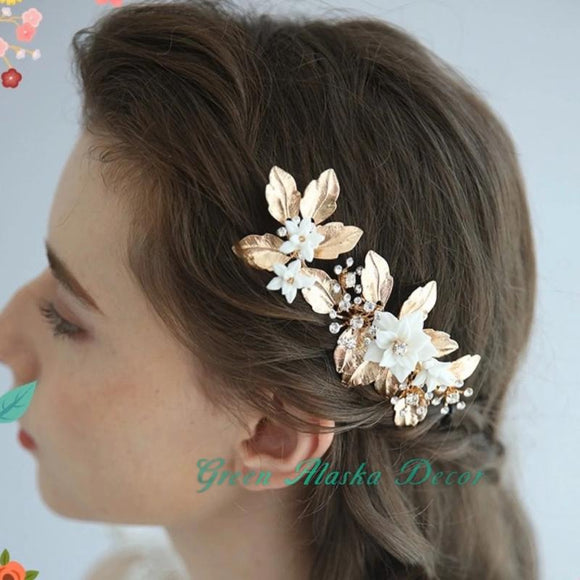 gold white clay floras hair comb hair pins for wedding brides bridesmaids, white flower hairpiece hair accessories