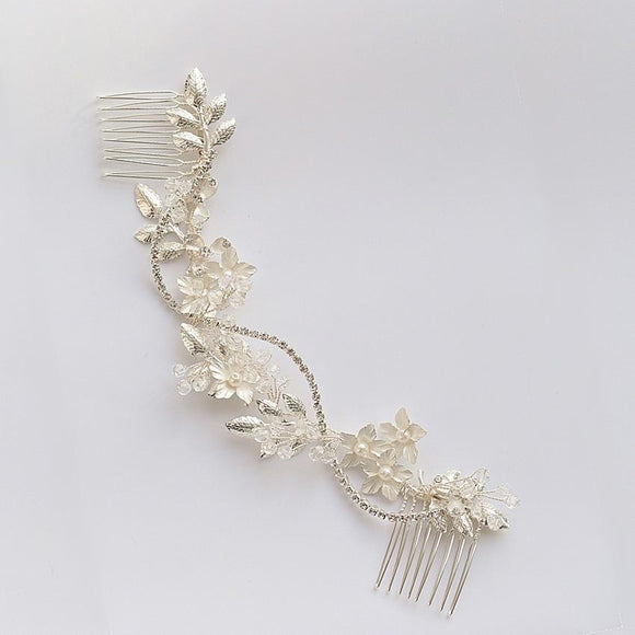 silver bridal hairpiece hair comb for wedding, silver hair vine with comb, boho back side comb, Bridal Headpiece for Wedding