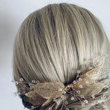 boho leaf hair comb for bride, Boho Wedding Hairpiece by Green Alaska