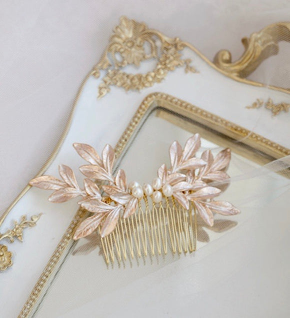 Rose gold blush pink leaves Hairpiece, Simple Bridal hair comb Headpiece, hair comb, Headpiece for Wedding