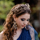 gold boho star crystal tiara, bridal boho hair band, party star headpiece, bridal tiara, princess crown