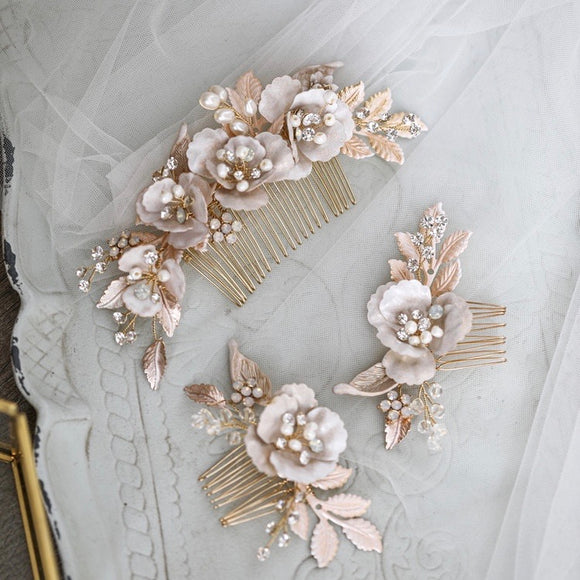 Bridal Headpiece Blush Wedding Haircomb with Flowers and Rhinestones Vintage Inspired Wedding Hair Accessory peachy  gold comb