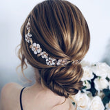 rose gold daisy bridal hairpiece for weddings, flower hairpiece headband, light gold floral hair vine