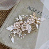 rose gold hair comb boho hairpiece weding bride hair accessory