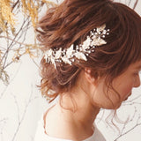 bridal hair vine,  rose gold leaf hairpiece
