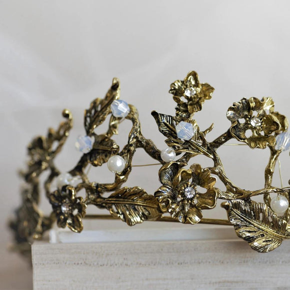 Vintage Baroque bronze gold tiara crown, boho tiara, gold tiara bridal wedding headpiece tiara, vintage bronze crown