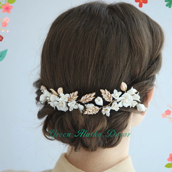 white petite floral and cluster bead comb, hair piece for wedding bride or bridesmaids