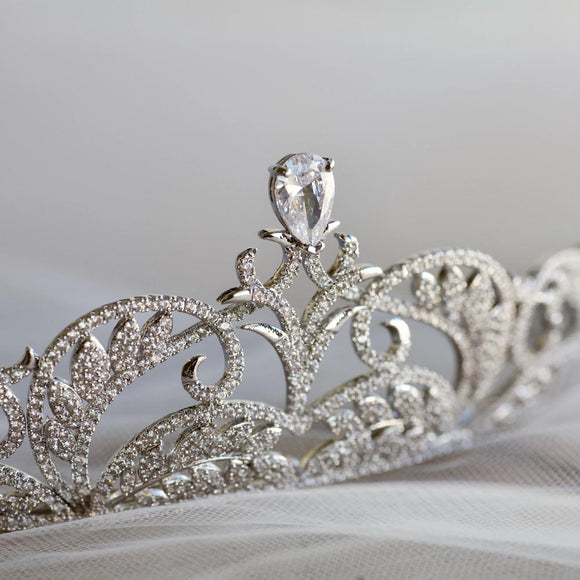 bridal tiara rhinestone crown, princess bridal wedding tiara crown, bridal headpiece, bridal tiara, princess crown