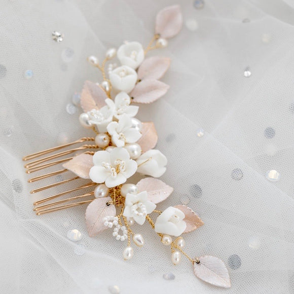 Wedding blush white clay flower Hair Comb Flower Hairpiece Wedding Headpiece Clay Flower Hair Piece Bridal Hair Accessories
