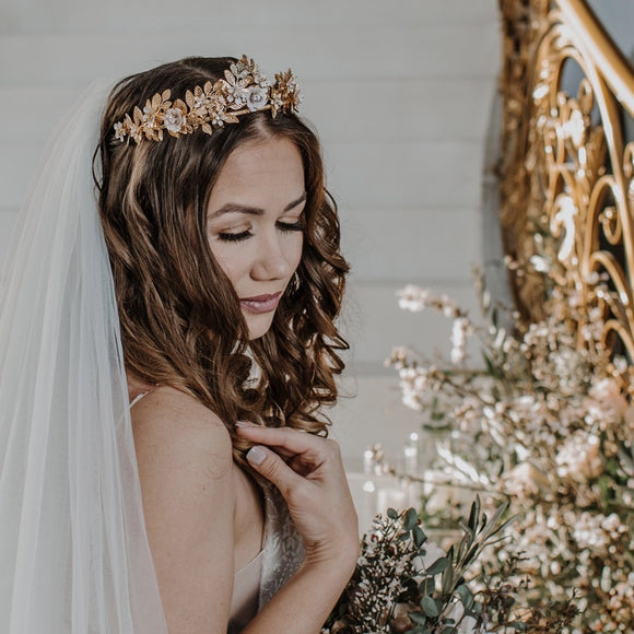 leaf bridal crown bridal tiara headpiece, gold brass bridal wedding tiara crown, vintage inspired bridal headpiece, bridal tiara, princess crown