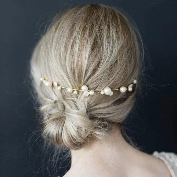 boho pearl headpiece back headpiece hair vine simple cheap hairpiece twigs and honey headpiece