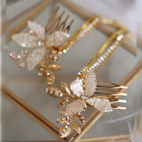 Boho gold hairpiece with chain for wedding, bridal hair chain