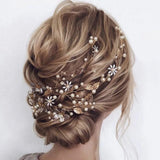 boho gold hair vine wedding bridal hairpiece gold leaf headpiece