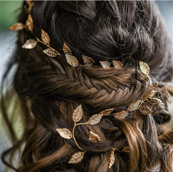 wedding bridal boho leaf hair vine gold leaf hair vine silver leaf hair vine boho bridal headpiece