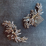 Boho bridal rose gold leaf hair vine, crystal hairpins, hair comb