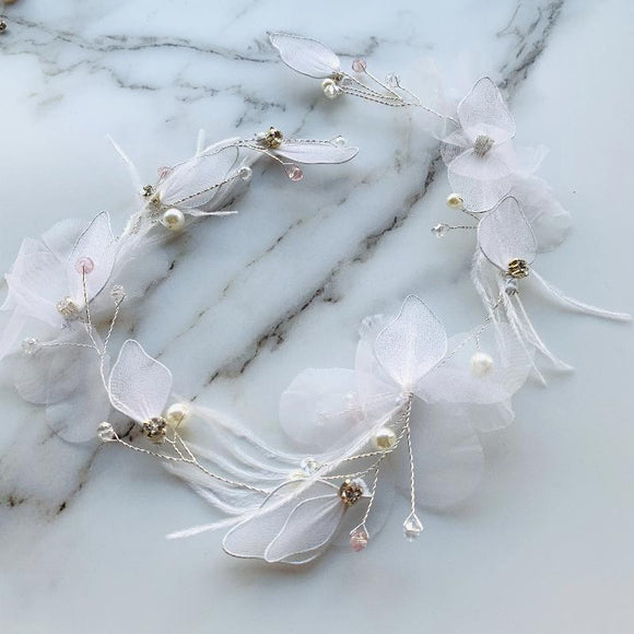 Fairy Bridal Wreath Bridal Hair Vine Bridal Headband Wedding Headpiece chiffon flowers headpiece