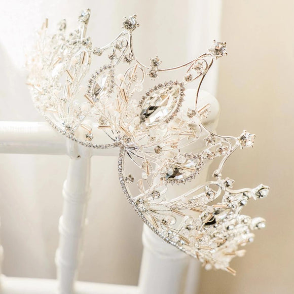 luxury rhinestone crown, bridal wedding tiara crown, bridal headpiece, bridal tiara, princess crown