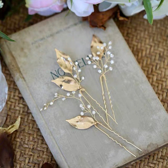 boho Bridal leaf hair pin, Leaf hair pin, Bridal hair pin set, gold leaf hair pin, Bridesmaid hair pins