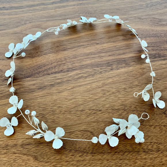 custom order for Kris-little white flower bridal hair vine