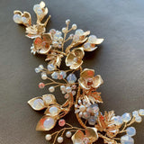 gold bridal boho hairpiece for wedding, hair vine