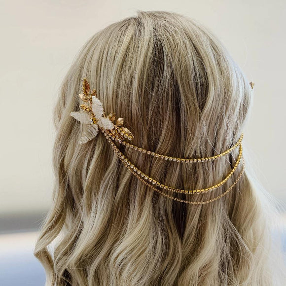 boho gold Hair chain for bride, Bridal hairpiece vintage, Wedding headpiece art deco, Bridal hairpiece with chain