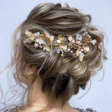 wedding bridal golden leaf Hair vine, Bridal boho Hair accessories Wedding Hair band opal gold Bridal Headpiece