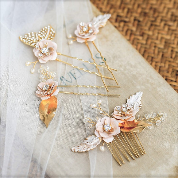 Rose gold hair comb bridal gold hairvine bridal gold hairpin bridesmaid Headpiece vintage design boho Bridal Headpiece blush pink