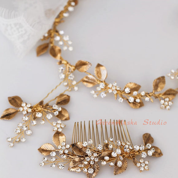 vintage boho hair vine hairpiece hair comb, white enamel hairpiece headband, boho romantic brass hairpiece, vintage headband