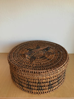 Vintage Dark Straw Bowl