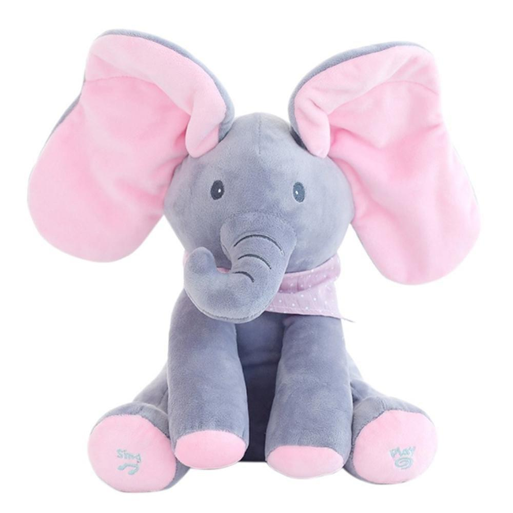 Baby Peek A Boo Animated Singing Elephant Flappy Plush Toy - evbody