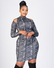 Letter Print Bodycon  Midi Dress - Grey