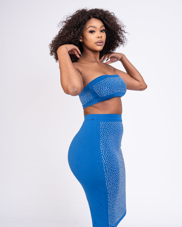 Sparkling Rhinestone Two-Piece - Blue
