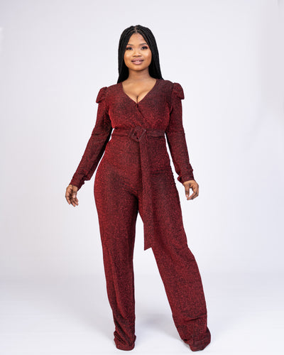 Exclusive Girl Metallic Jumpsuit - Red