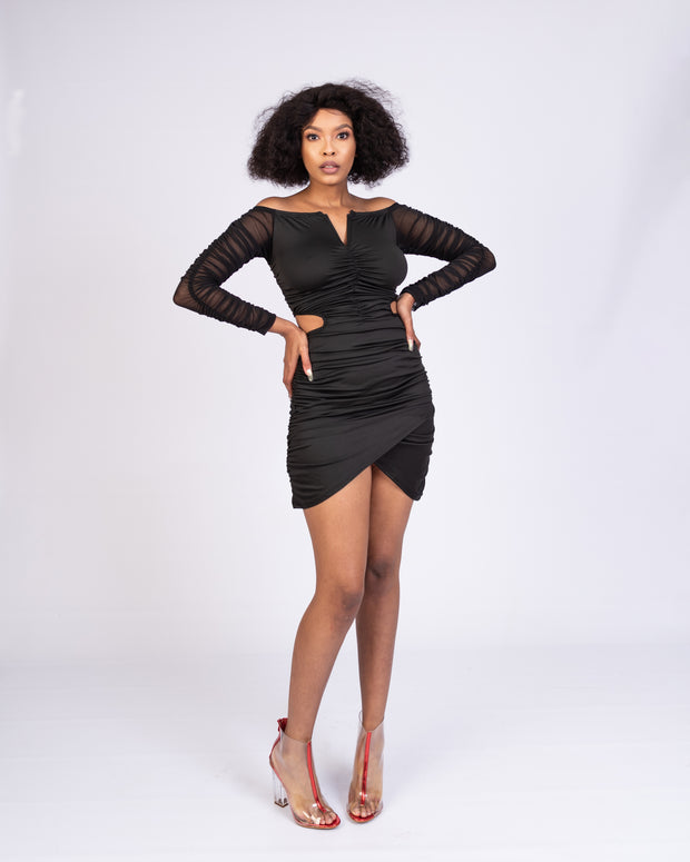 Maryjane_Lepitse Ruched Dress - Black