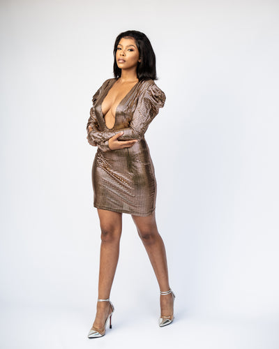 Majestic Metallic Mini Dress - Gold