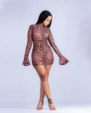 Leopard Mesh Mini Dress