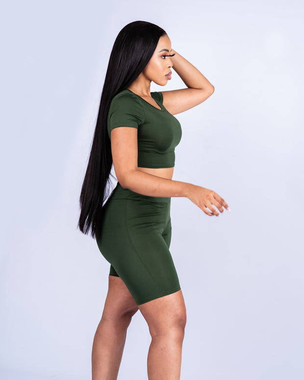 Slay Babe Biker Short  Two-Piece - Olive