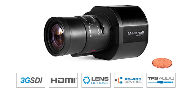 Marshall CV365-CGB  Full-HD (3G/HD-SDI & HDMI) 2.5MP Compact GENLOCK Camera with AUDIO + HDMI (CS/C lens mount w/ Auto-Iris
