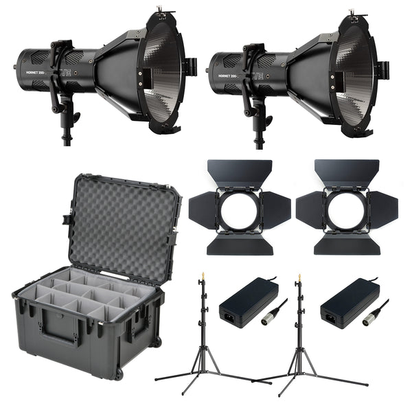 Hive Lighting Hornet 200-C Par Spot 2 Light Kit with 2 Stands and Case (Custom Foam HLS2C-PS-2LKIT-PD
